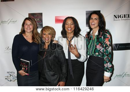 LOS ANGELES - JAN 29:  Lorraine Bracco, Sophia A. Nelson, Garcelle Beauvais, Angie Harmon at the An Evening with The Woman Code Event at the City Club on January 29, 2016 in Los Angeles, CA