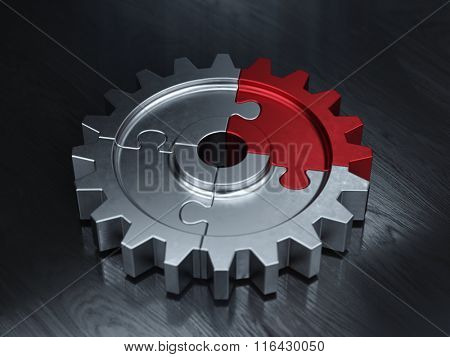 Gear puzzle - business teamwork and partnership concept