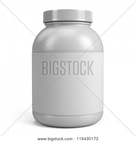White Can of protein or gainer powder with blank label isolated on white background