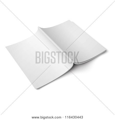 Blank opened magazine back cover template.