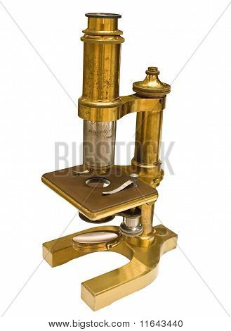 Antique Microscope Isolated With Clip Path
