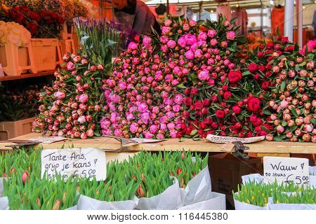 Street Flower Shop With Colourful Tulip Bouquets On The Grote Markt In Haarlem, The Netherlands