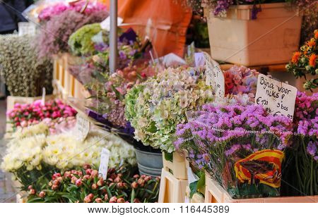 Street Flower Shop With Colourful Bouquets On The Grote Markt In Haarlem, The Netherlands