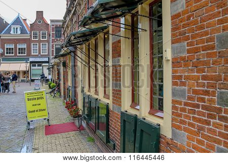 Small Jewelry Shops In The Historical Centre Of Haarlem (near The Grote Markt). The Netherlands