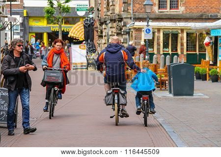 People In The Historic Center Of Haarlem, The Netherlands