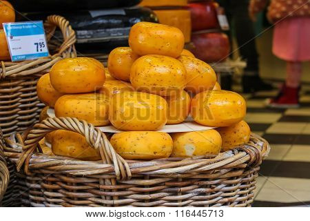 Baskets With Famous Traditional Dutch Cheese