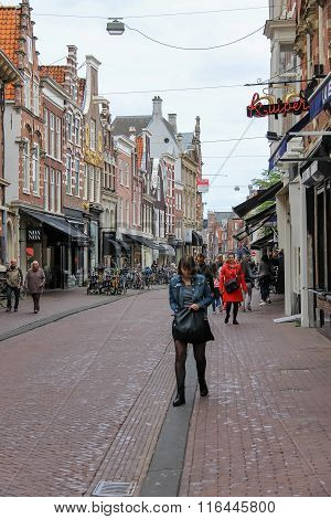 Tourists Walking On Zijlstraat Street In The  Historic Center Of Haarlem, The Netherlands