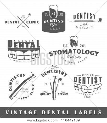 Set Of Vintage Dentist Labels