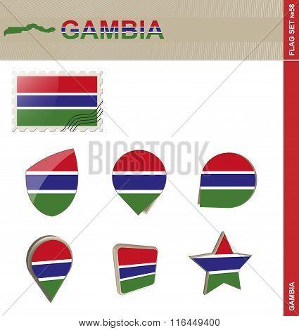 Gambia Flag Set Flag Set #58. Vector. poster