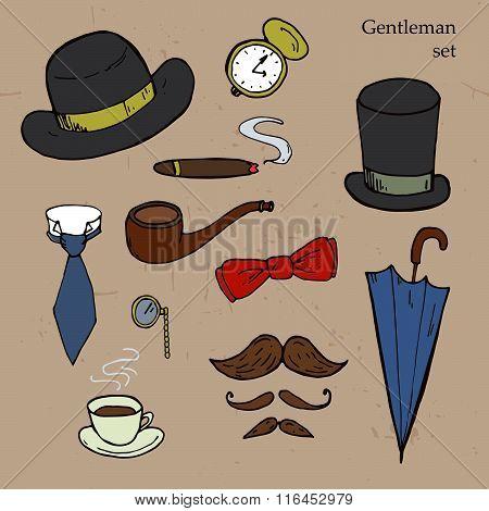 Gentlemen Set. Umbrella, Hat, Bow, Tie, Mustache. Vector Illustration