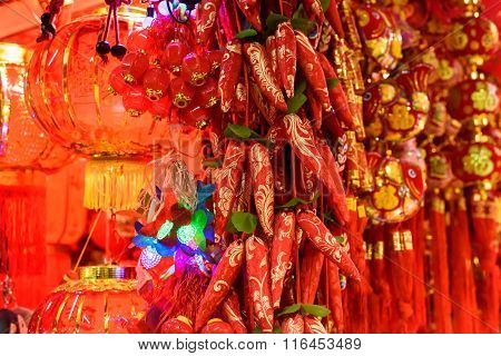 Chines red peppers and red lanterns decorations
