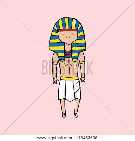 Cute Egyptian Pharaoh In Cartoon Style
