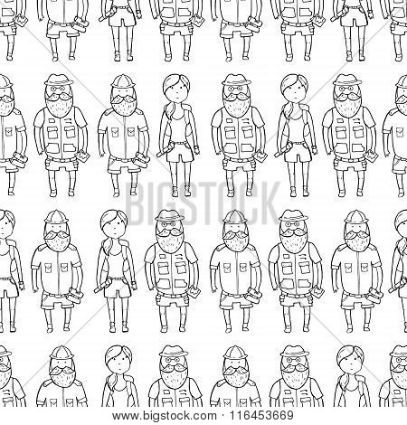 Seamless Pattern With Different Explorers