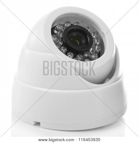 Security CCTV camera isolated on white