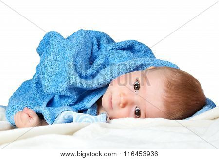 Cute baby in a towel
