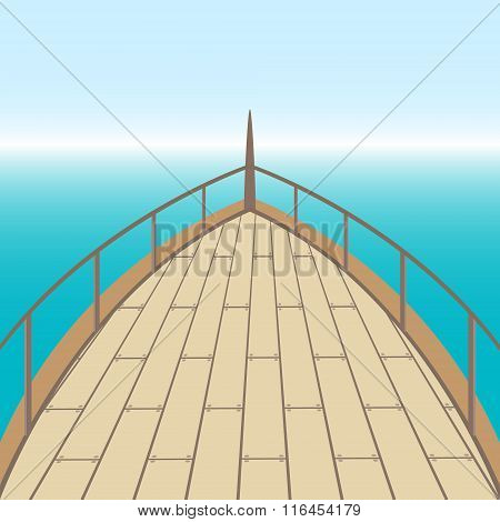 Afterdeck Of A Boat And A Sea.