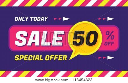 Concept vector banner - special offer - only today 50% off sale eveything. Sale vector banner.