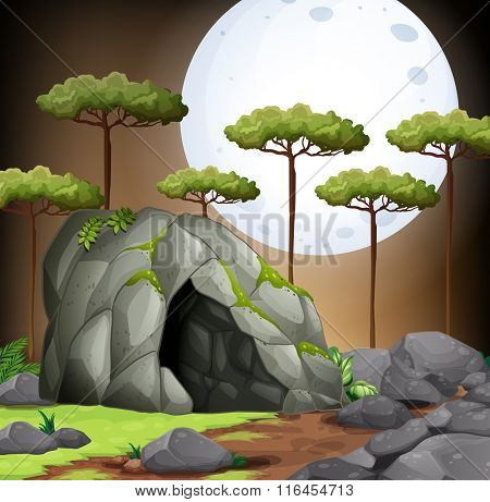Nature scene of cave on fullmoon night illustration