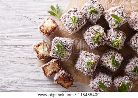 Australian Lamington Cake With Coconut. Horizontal Top View