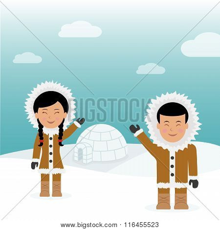 Character male and female Eskimos. Concept background trip to Greenland. Eskimos friendly greeting n