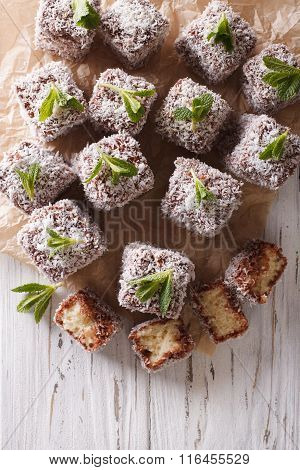 Australian Lamington Cake With Coconut. Vertical Top View