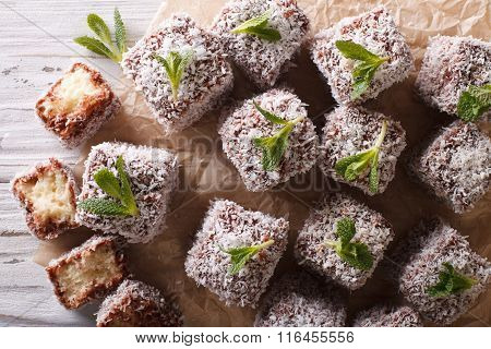 Lamington Cake With Coconut Close-up On. Horizontal Top View