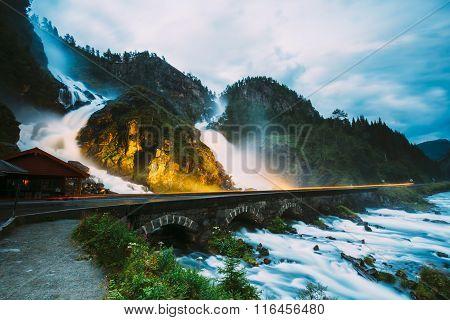 Beautiful famous waterfall Latefoss or Latefossen waterfall in Norway. Amazing Norwegian nature landscape. poster