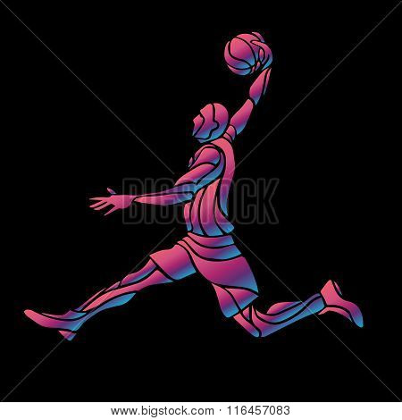 Basketball player Slam Dunk Neon Glow Silhouette