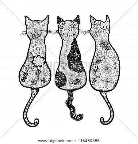 Cats  Doodle Illustration