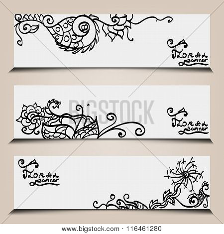 banner templates set with floral elements.
