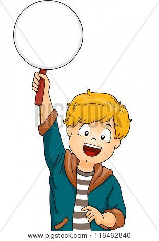 Illustration of a Boy while answering a question with a Paddle