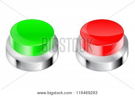 Buttons. Red And Green Plastic Button With Metal Frame.