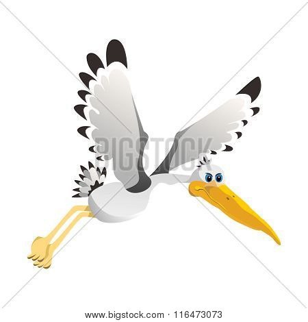 Vector Simple Cartoon Flying Pelican Illustration