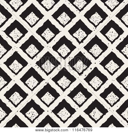 Vector Seamless Black And White Hand Painted Line Rhombus Grid Waffel Pattern Abstract Background poster