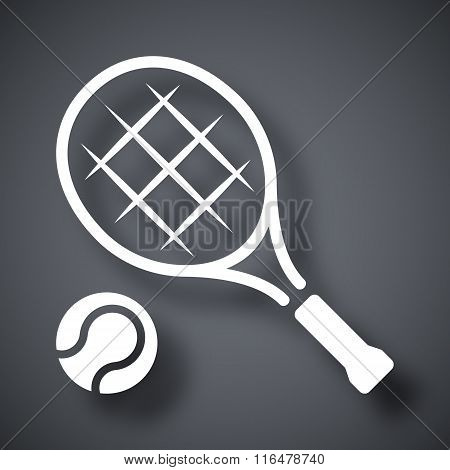 Vector Tennis Racket And Tennis Ball Icon