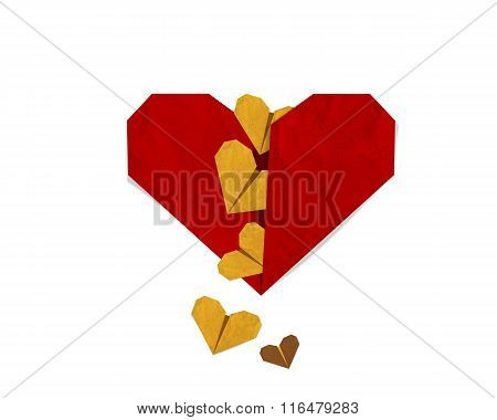 Small Heart Falling From Red Heart, Valentine Day Greeting Card.