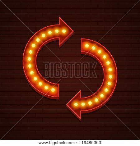 Retro Showtime Sign Design. Arrows Cinema Signage Light Bulbs