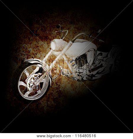 Chopper Motorbike On A Dark Background.