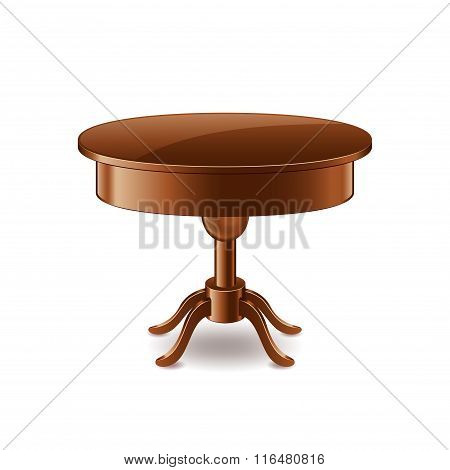 Wooden Table Isolated On White Vector