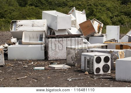 Old appliances at the landfill site