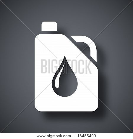 Vector canister of motor oil icon  on a dark gray background with a shadow poster
