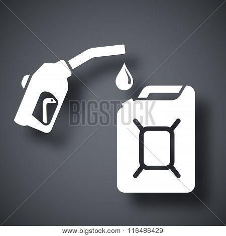 Gun For Fuel Pump And Canister Of Fuel, Vector Icon