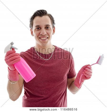 Young Man With Cleaning Supply