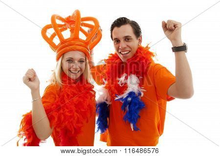 Couple Of Dutch Soccer Supporters Cheer