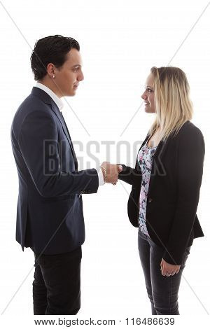 Businessman Is Shaking Young Woman Hand