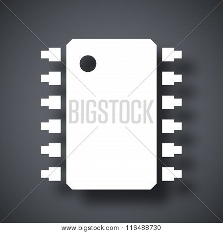 Vector microchip icon  on a dark gray background with a shadow poster