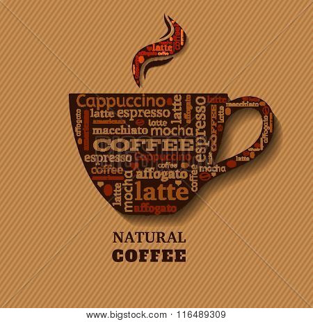 Cup of coffee with word cloud on fabric background