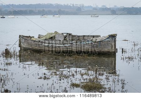 Old wooden boat left to rot
