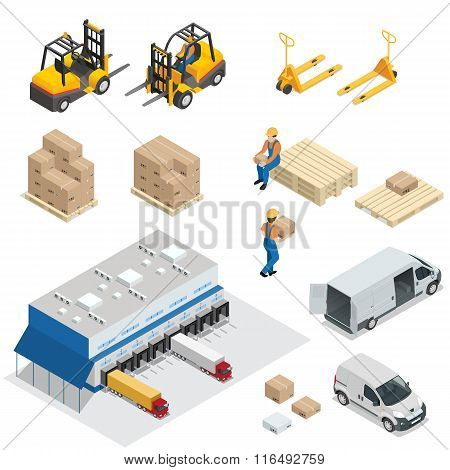 Set of Warehouse equipment. Shipping and delivery flat elements. Workers boxes forklifts and cargo t