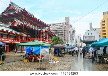 NAGOYA JAPAN - NOVEMBER 18 2015: Osu Kannon flea market is held on the grounds of the Osu Kannon temple on every 18th and 28th of the month